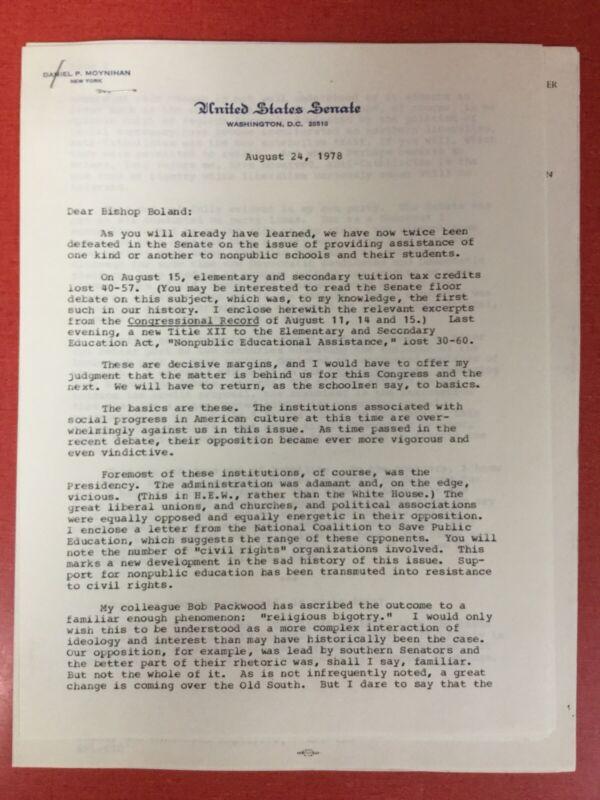 Daniel Patrick Moynihan - New York Senator - TYPED SIGNED LETTER - Aug. 24, 1978