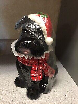 Giant Schnauzer Scottie Dog COOKIE JAR- Christmas Terrier Sleigh Bell Bistro