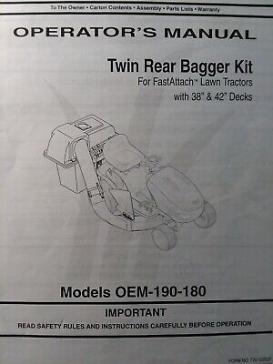 Troy-bilt Mtd White Tractor Lawn Mower Twin Grass Catcher Owner Parts Manual