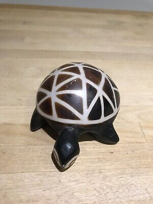 Vintage brown clay hand painted tortoise Ornament from Ecuador