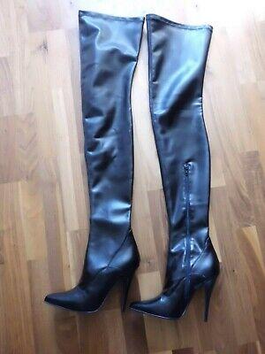 High Heels  Overknee Stiefel Schwarze Crotch Stiletto-Absatz Wie Neu Gr.40 online kaufen