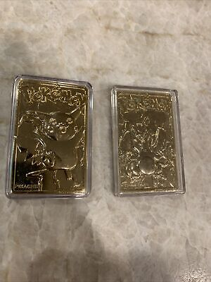 Pokemon Special Edition 23k Gold Plated Trading Card #25 Pikachu AND Charizard