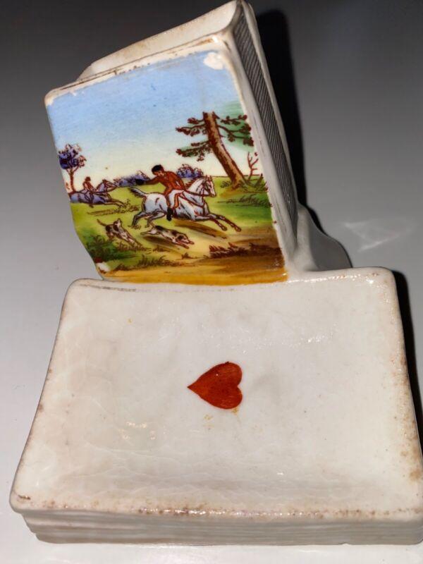 Antique Porcelain Match Holder w/ Striker Hunt Scene