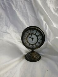 Vintage-Style 9 Tall Antiqued Metal Table Top Clock, Powered By 1 AA Battery