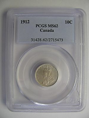 1912 PCGS MS62 10 CENTS CANADA TEN DIME SILVER