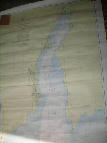 Vintage Little Bay De Noc Lake Michigan Nautical Chart 718 1957