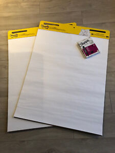 Post It giant size sticky notes and sharpie flip chart markers