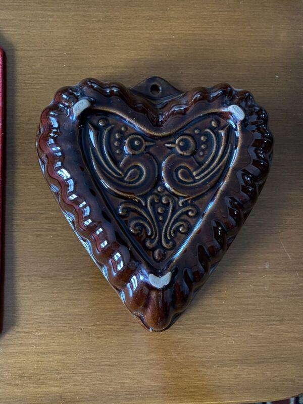 Heart Baking Cake Mold Pan Brown Ceramic Back Keramic Scheurich W. Germany