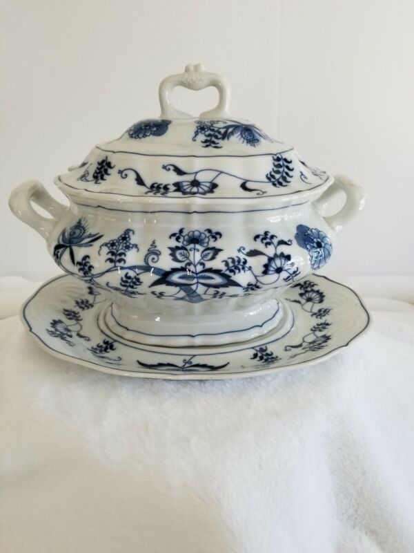 Danube Covered Soup Tureen with Underplate Blue and White Onion Pattern Vintage