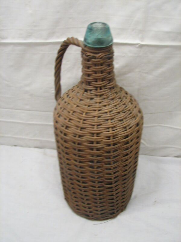Vintage Wicker Covered Rattan Handled Bottle Demijohn Whiskey 1 Gal