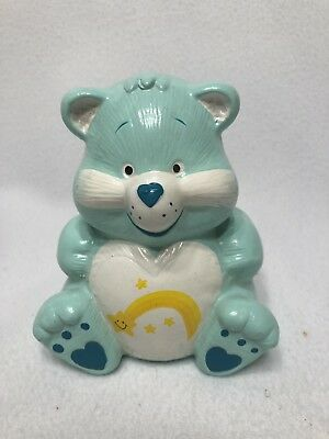 Vintage Care Bear WISH BEAR Figurine Ceramic Piggy Bank AQUA Hearts - Bear Bank