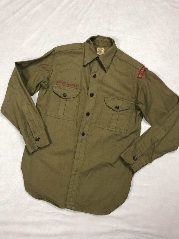 VTG BSA Boy Scouts Of America Uniform Shirt Metal Buttons 1930's 1940's No Size