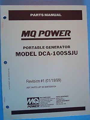 Mq Power Dca-100ssju Portable Generator Parts Manual Revision 1 011999