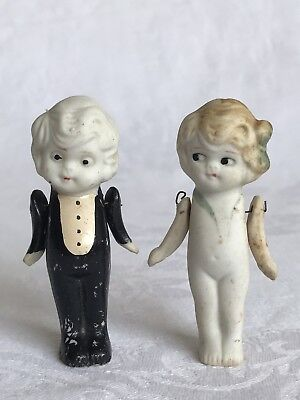 Antique Bisque Charlotte Miniature Doll Bride & Groom? Tuxedo Jointed Arms Japan