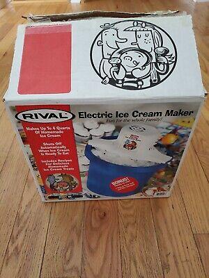 Vtg Rival Blue 4 Quart Electric Ice Cream Maker Model 8401BL Open Box Never Used