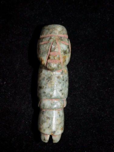 Pre-Columbian Mayan Jade Carved Figure Tube Bead, Authentic