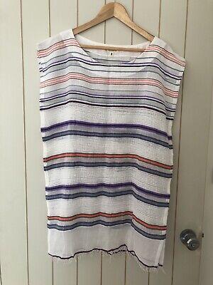 EUC Lemlem By Liya Kebede Cotton Purple Stripe Tunic Dress Cover Up Size M