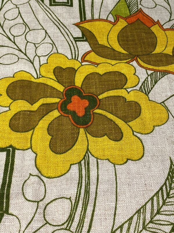 Vintage 70s Waverly Fabric Sample Panel Chinese Flower Pattern Mod Floral