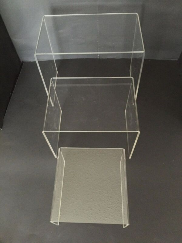 """Set of 3 Acrylic Plastic Clear Riser Stand To Display 6"""" 8"""" 10"""" Fixtures Jewelry"""