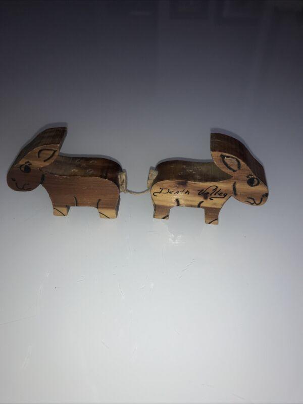 Wood Donkeys Death Valley Salt and Pepper Shakers Vintage