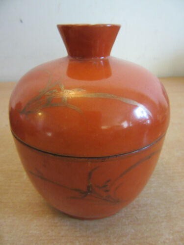 Antique Chinese porcelain lidded jar Orange with gold designs SIGNED