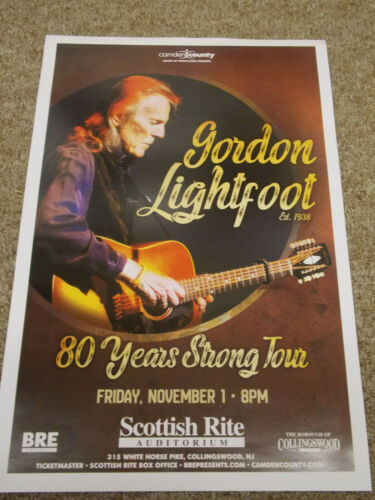 GORDON LIGHTFOOT FULL COLOR CONCERT PROMOTIONAL POSTER GORGEOUS!