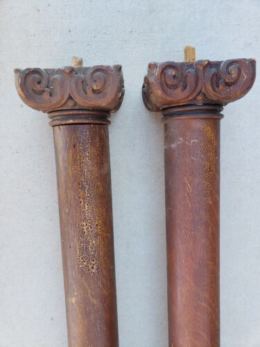 "#2 PAIR ANTIQUE OAK ROUND COLUMNS-63"" H -CARVED CORINTHIAN CAPITALS - HEAVY"