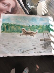 Golden retriever water colour . Large