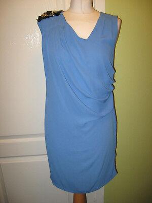 JOVONNA LONDON SIZE 10 LADIES BLUE CHIFFON DRESS WITH CORSAGE ON SHOULDER