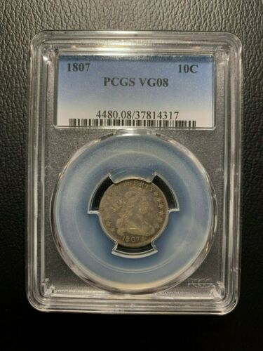 1807 Draped Bust Dime PCGS VG08 Liberty 10c Dollar Silver Heraldic Eagle Hair