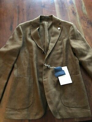 "Lardini mens khaki/brown jacket NWT italy 52 (42"") wool/linen blazer/sportscoat"