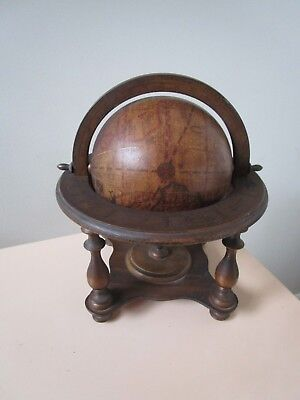 OLDE WORLD TABLE GLOBE WOOD MADE IN ITALY 10 X 8