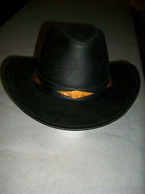 Henschel Cowboy Hat Black Cowhide Leather Western Concho Size Medium*Ships FREE