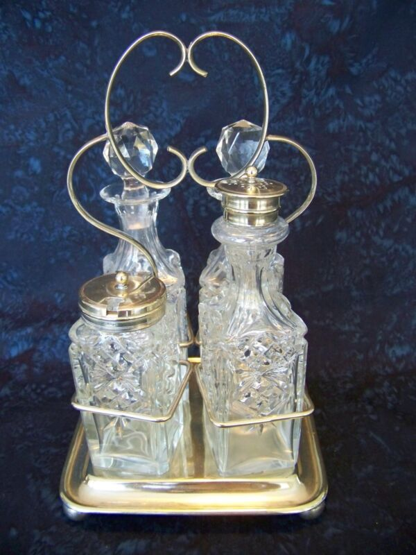 BHA England EPNS Silverplate and Glass CRUET SET