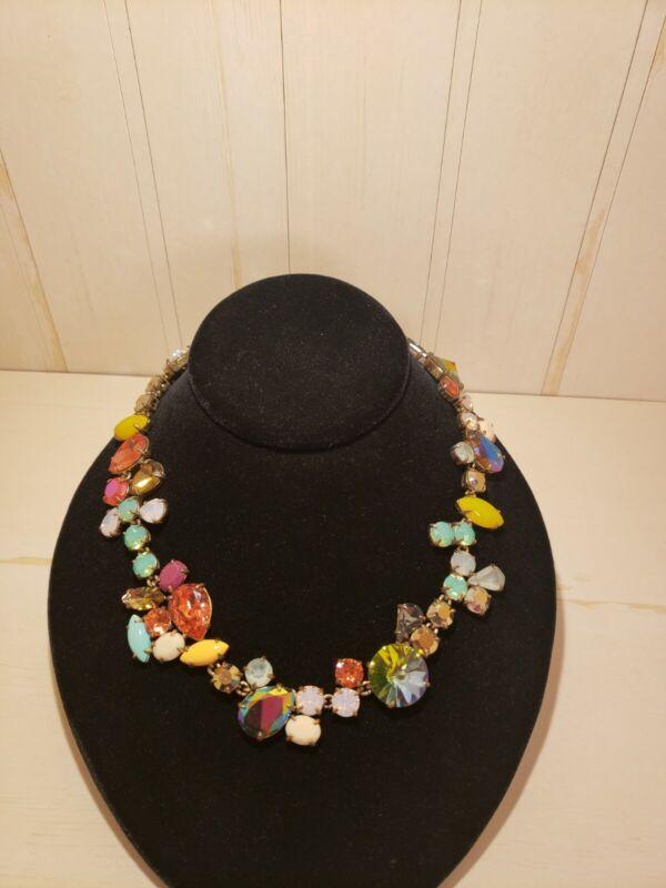 J. Crew Statement Multi Color Crystal Mindy Necklace