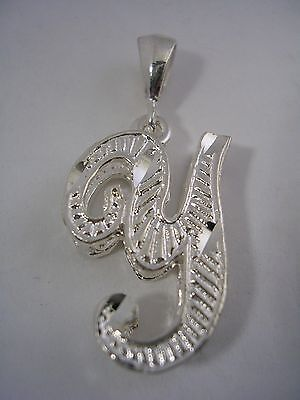 (LETTER Y INITIAL PENDANT CHARM WITH A DIAMOND CUT FINISH IN STERLING SILVER)