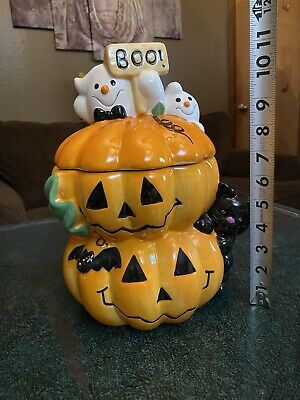 Halloween Ghosts & pumpkins cookie jar by David's Cookies