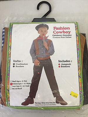 Fashion Cowboy Child Costume Outfit, Jumpsuit and Bandana, New in Pack, M or L