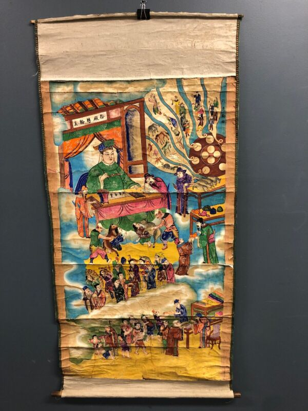 """Antique Asian Colorful Painted Scroll 67"""" X 36"""""""