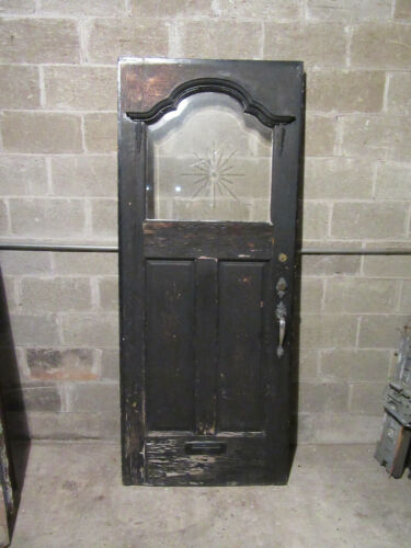 ~ ANTIQUE DOOR WITH BEVELED ETCHED GLASS ~ 33.5 X 81 ~ ARCHITECTURAL SALVAGE ~