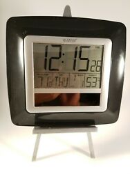 La Crosse Technology  Large Display Atomic Digital Wall Clock. Black bezel.