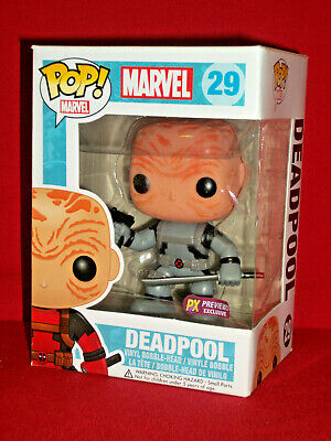 DEADPOOL unmasked FuNko PoP! gray PX Previews Exclusive #129 Box Issues Marvel