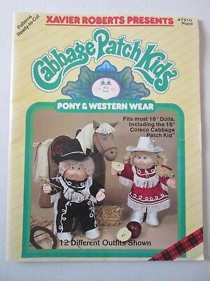 CABBAGE PATCH KIDS PONY & WESTERN WEAR 12 OUTFITS Sewing Clothing Doll Patterns.