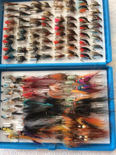 Sea Trout and salmon flies in fox box