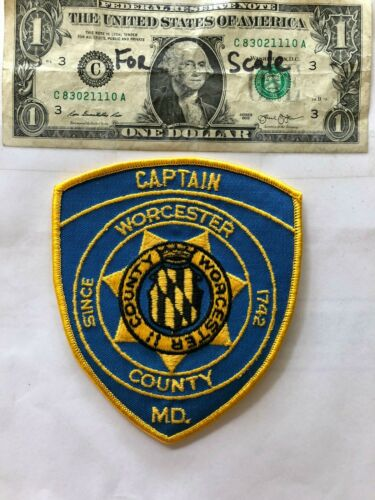 Very Rare Worchester County Maryland Police Patch (Captain) un-sewn  great shape