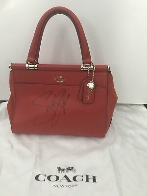 - Coach Selena Gomez Grace Bag Satchel In Mixed Leathers Autographed Signature
