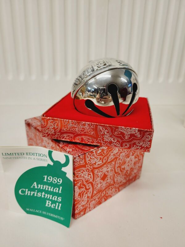 Neiman Marcus Wallace 1989 Silver Plated Sleigh Christmas Bell Ornament-MINT!
