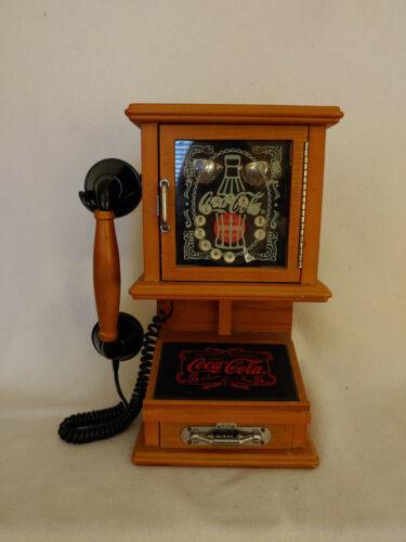 COCA-COLA Nostalgic Wall Hanging Push Phone Retro Telephone Vintage Wooden