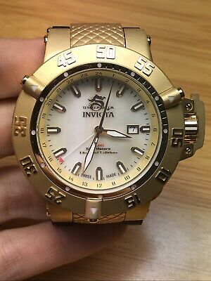 Invicta 50mm Men Subaqua Noma III 0738 GMT 18kt Gold MOP Dial Watch Runs