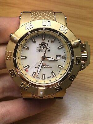 Invicta 50mm Men Subaqua Noma III 0738 GMT 18kt Gold MOP Dial Watch Runs